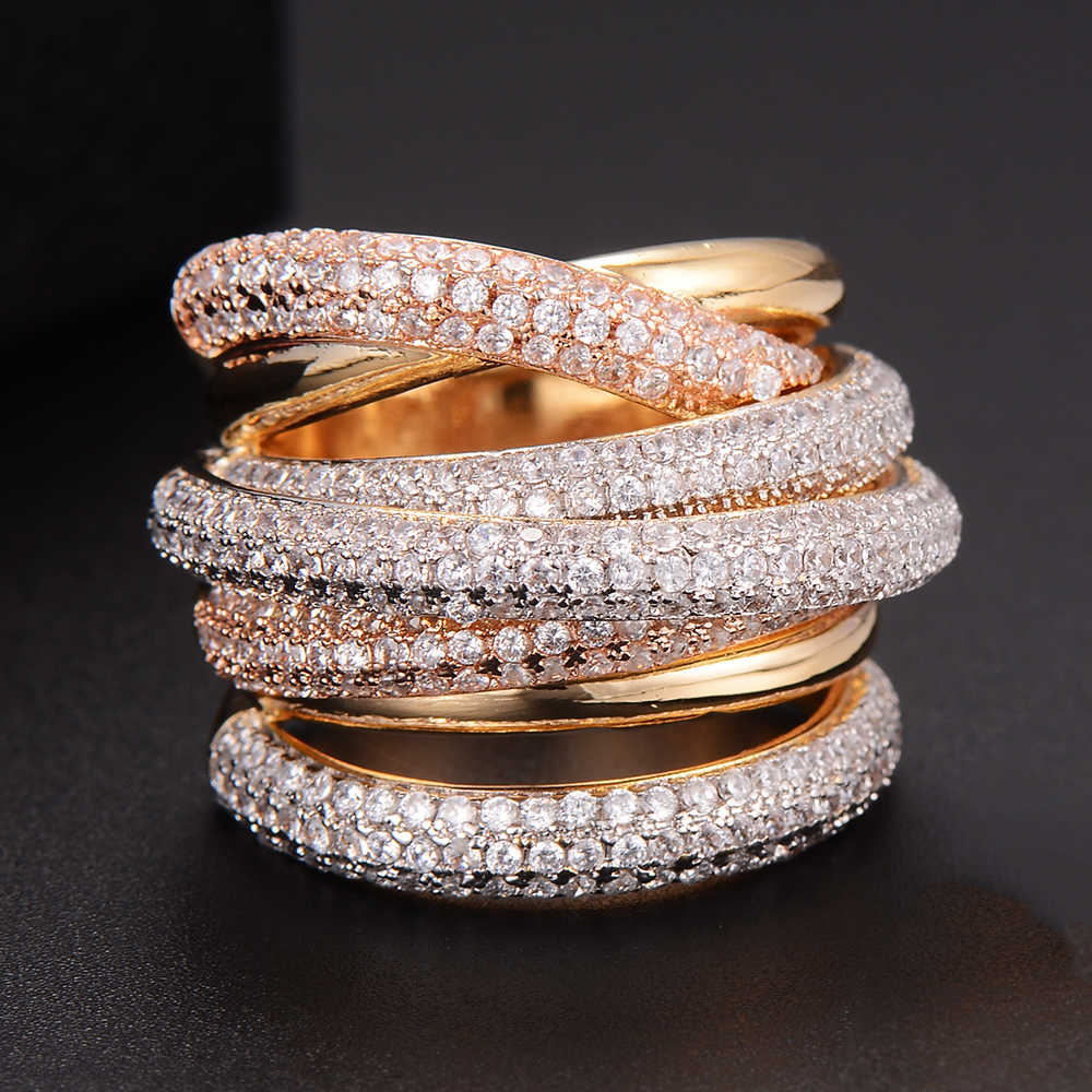 GODKI  Monaco Designer Luxury Twist Lines Geometry Cubic Zironium Engagement Dubai Naija Bridal Finger Rings Jewelry Addiction