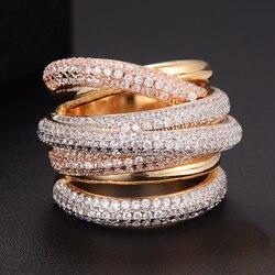 GODKI  Monaco Designer Luxury Twist Lines Geometry Cubic Zironium Engagement Dubai Naija Bridal Finger Rings Jewelry Addiction
