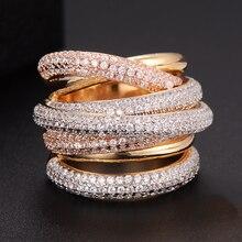Godki Monaco Designer Luxe Twist Lijnen Geometrie Kubieke Zironium Engagement Dubai Naija Bridal Vinger Ringen Sieraden Verslaving