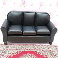 1/12 Dollhouse Furniture Leather Sofa Couch Chair Miniature Model Sitting Room Accessories Decoration Black