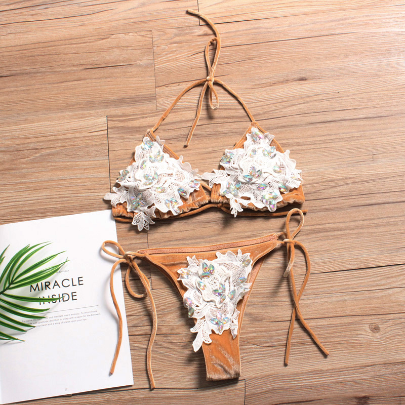 Lace Bikini Diamond Swimsuit Crystal Women Swimwear Bikinis Brazilian Pleuche Beachwear Tie Sides Bathing Suit 2018 Biquini women design peacock secret crystal diamond bikini white swimsuit biquini brazilian bathing suit sexy swimwear bikinis set