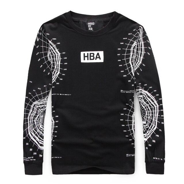 5b07512217e mens t shirts fashion 2015 brand hba shirt men hood by air HBA spider web  year print t-shirt cotton long sleeve hba hip hop tees