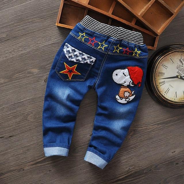 2016 New Fashion Children Baby Boy Clothes Boys Cartoon Causal Desiner Spring Warm Elastic Sport Kids Boys Jeans Pants Trousers