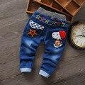 2016 nova moda crianças roupas meninos dos desenhos animados Causal Desiner primavera quente Elastic esporte crianças meninos Jeans calças calças
