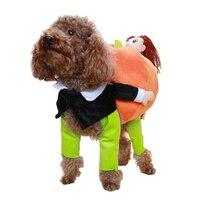 2018 Funny Pet Dog Costumes Novel Pumpkin Coat Dress up Halloween Small Dog Super Cute Costumes Fancy Pets Clothes Apparel