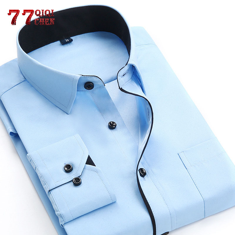 Business Shirts Men Long Sleeve Shirts  Plus Size 4XL High Quality Solid Shirt Hombre Causal Slim Fit Chemise Camisa Masculina