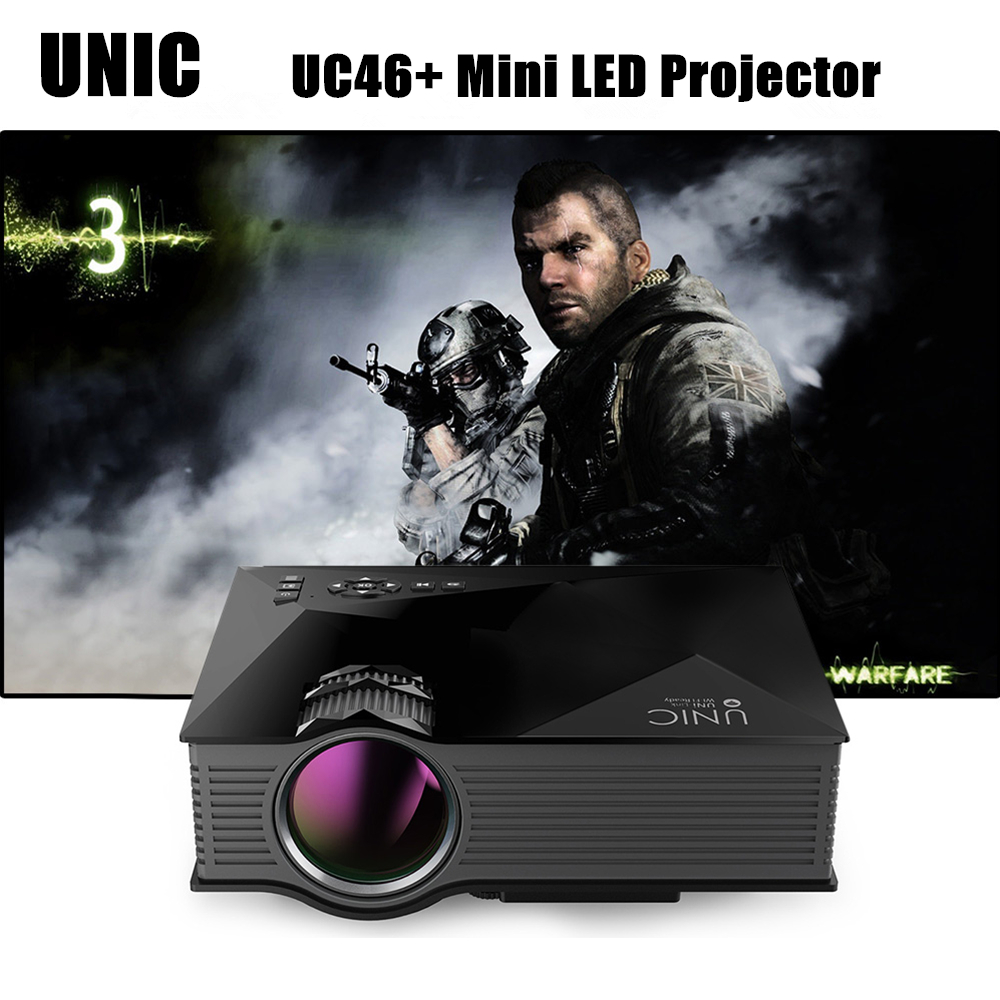 UNIC UC46+ Mini Simplified Micro LED Projector Wireless WIFI Full HD Video Home Cinema Proyector Support Miracast DLNA Airplay 2016 newest unic uc46 wifi portable led video home cinema projector laptop pc vga usb sd av hdmi wireless mini pocket projector