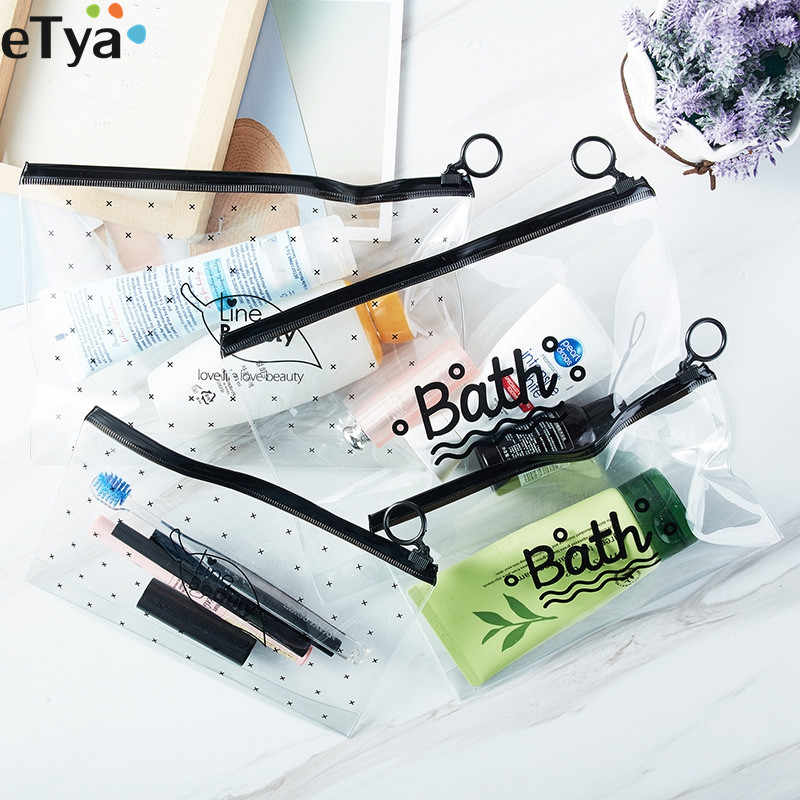 eTya Cosmetic Bag Women Transparent Clear PVC Makeup Bags Neceser Make Up Bag Toiletry Bath Wash Travel Organizer Pouch Bag