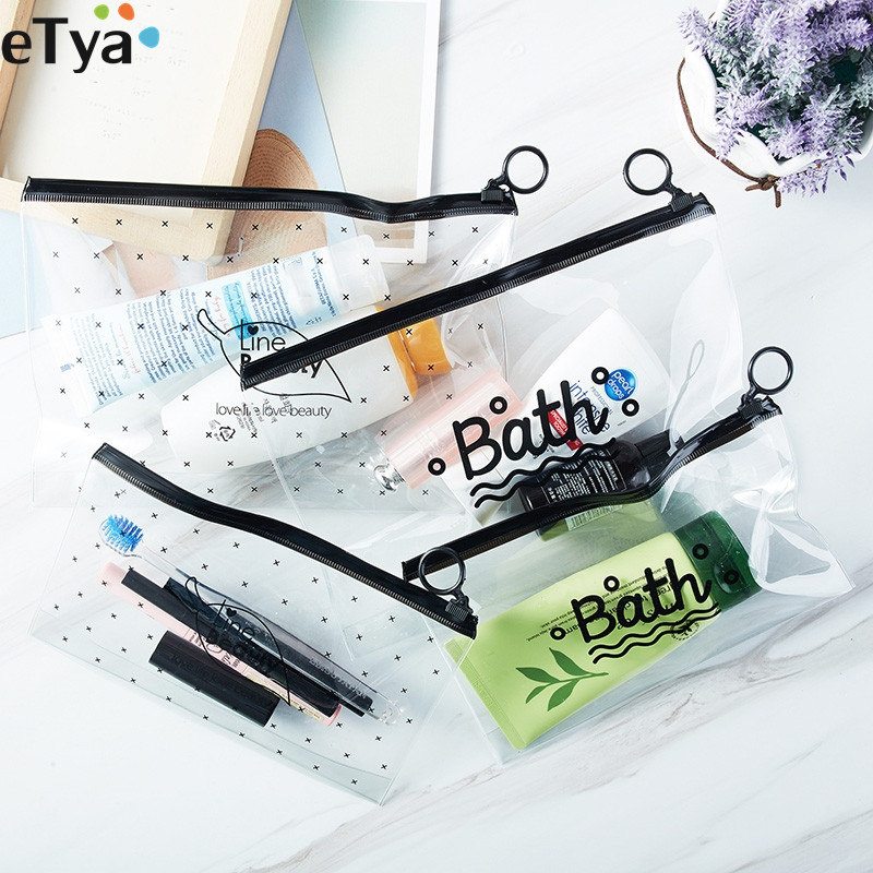 eTya Cosmetic Bag Women Transparent Clear PVC Makeup Bags Neceser Make Up Bag Toiletry Bath Wash Travel Organizer Pouch Bag unicorn 3d printing fashion makeup bag maleta de maquiagem cosmetic bag necessaire bags organizer party neceser maquillaje