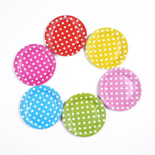 Polka Dots Paper Plates for Wedding Birthday Party Tableware Party Supplies Size 7  Disposable Colored  sc 1 st  AliExpress.com & Polka Dots Paper Plates for Wedding Birthday Party Tableware Party ...