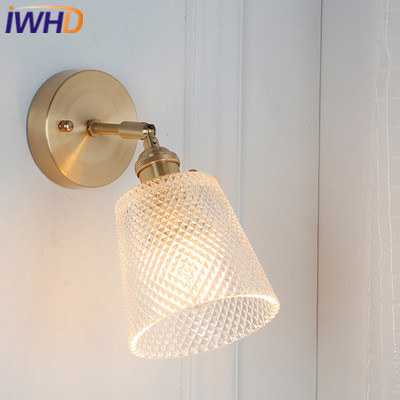 IWHD Copper Nordic Style Wall Lamp Modern LED Wall Lights Vintage Light Glass Fixtures Home Lighting Bedroom Bedside Sconce vintage glass wall lamp light modern sconce fixtures lighting free retro bulb bedroom