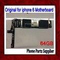 64 gb original desbloqueado para iphone 6 motherboard + botão home & flex cable, para iphone 6 mainboard com touch id função, navio livre