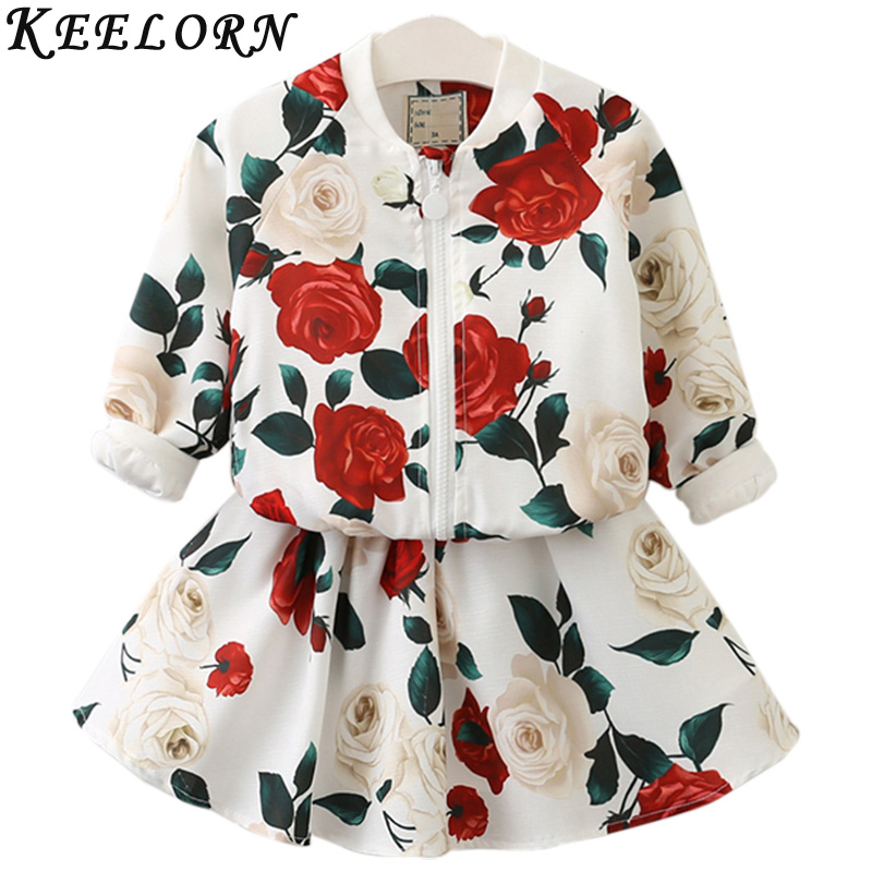 Keelorn Girls Clothing Sets 2017 New Spring Style Rose Floral Pattern Printed Clothing Suits Children Jacket and Dresses 2Pc
