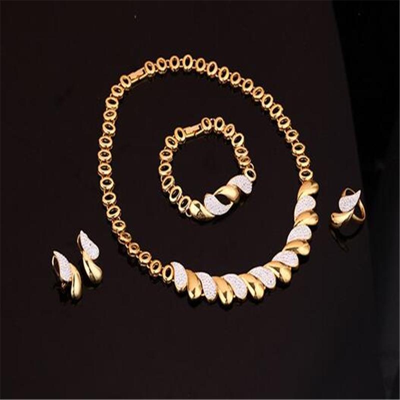 5 - Nouveaux Ensembles De Bijoux Africains Or, Collier Boucles D'oreilles Bracelet Anneau Femmes,