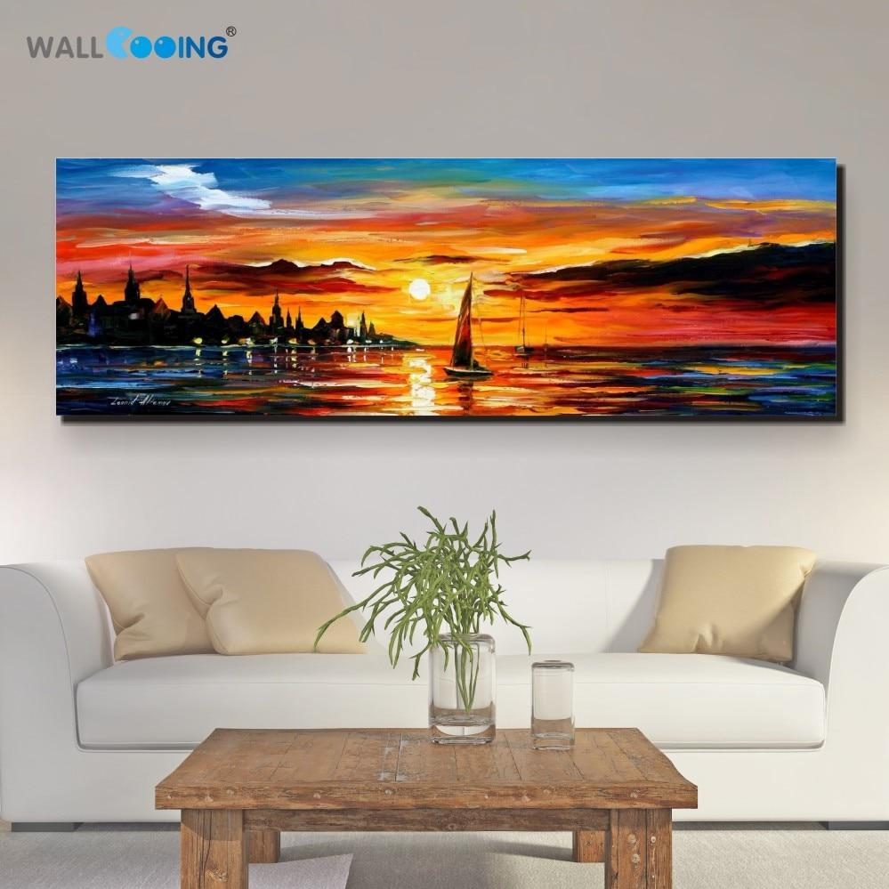 100% Rankų tapyba kraštovaizdžio aliejaus tapyba jūrų drobė paletė peilis pajūrio Sunset paveikslai meno sienos apdaila tapyba