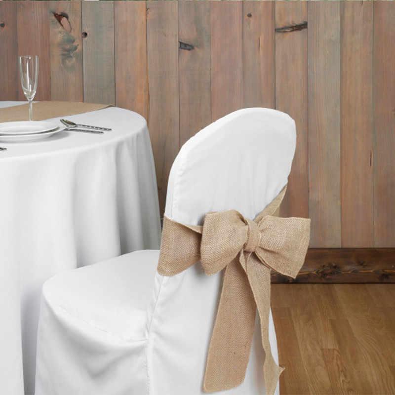 Полезный стул из мешковины, бант, лента из мешковины для банкета, свадебной вечеринки