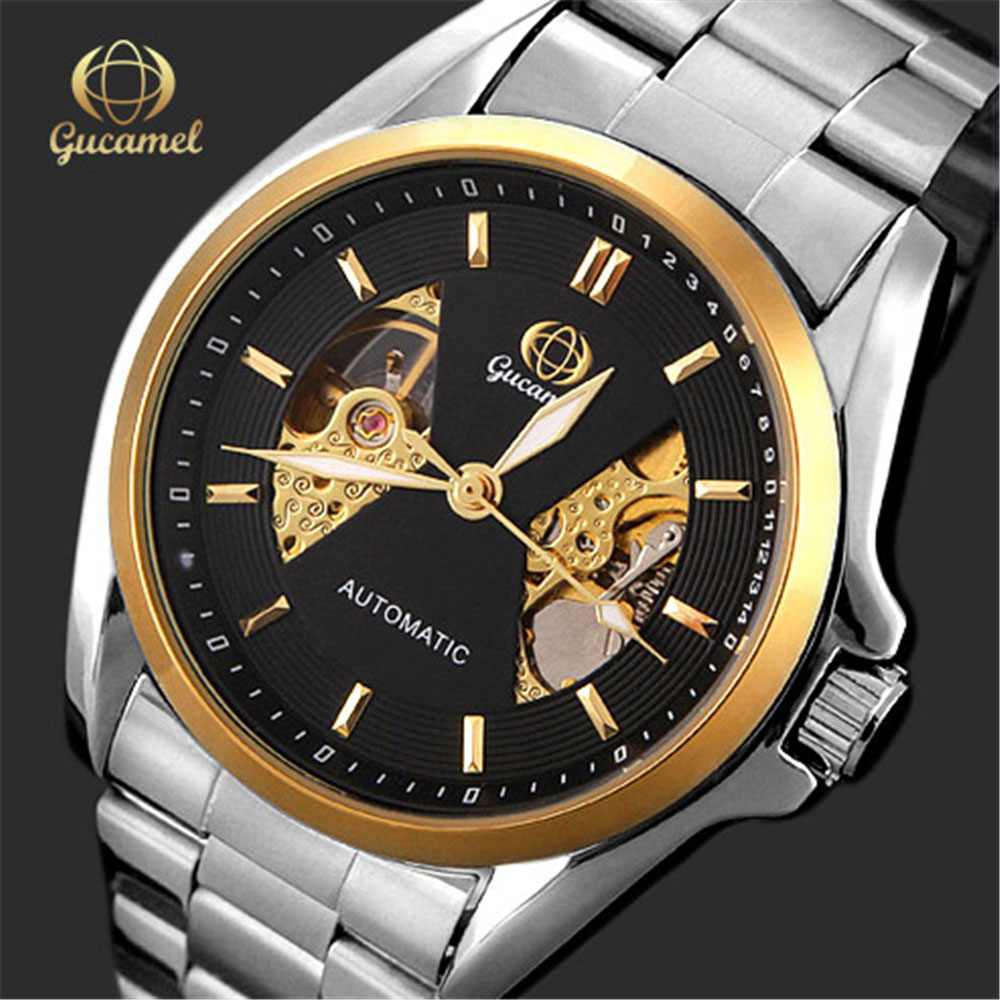 GUCAME GOLD Mechanical Wrist Mens Watch Top Brand Luxury Automatic Clock Men Stainless Steel Skeleton Watches Reloj Hombre 2017 jaragar classic dual movement design automatic quartz watches clock mens watches top brand luxury watch men skeleton wrist watch