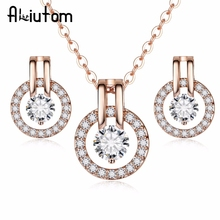 hot deal buy aliutom 2018 elegant fashion jewelry sets silver color crystal earrings necklace set for women wedding statement party jewelry