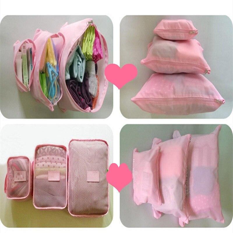 qualidade duplo zíper de poliéster Luggage Tipo : 6 Pcs Travel Storage Bag Conjunto For Clotehes