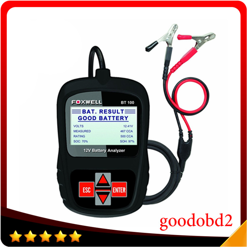 Foxwell bt100 12 v autobatterie tester für agm, gel original bt100 12 volt digitaler alle autos data battery analyzer