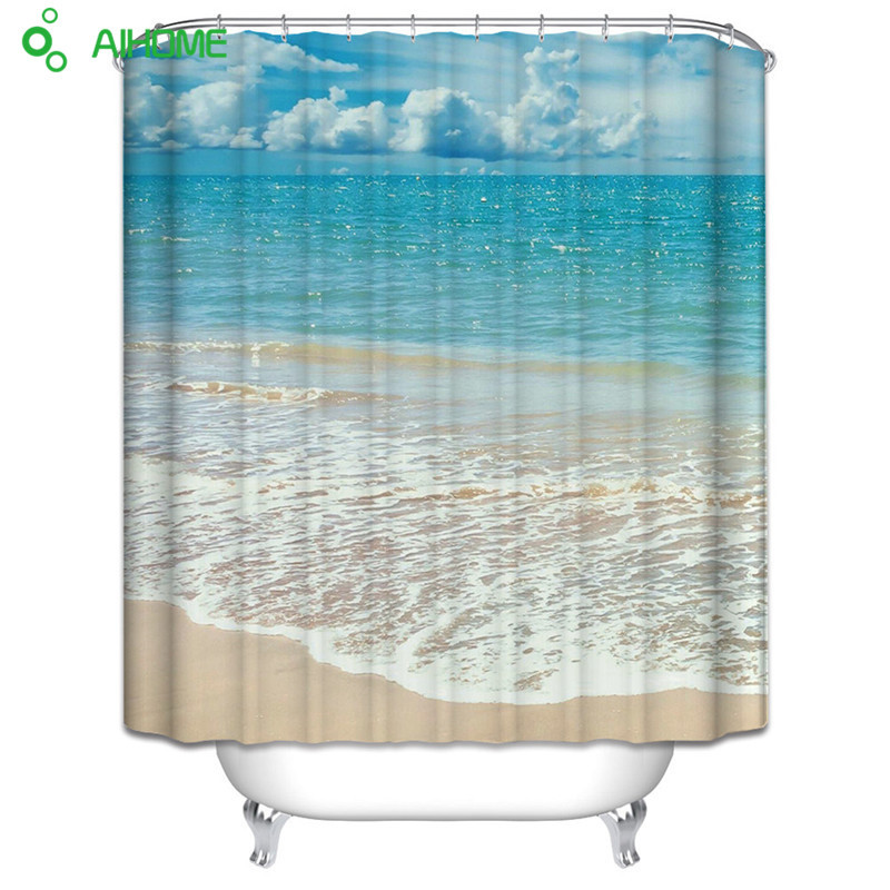 Super Beautiful Blue Sea Beach Shower Curtain Waterproof Polyester Bathroom Curtain Decorations 180x180cm/150 * 180 cm New!!