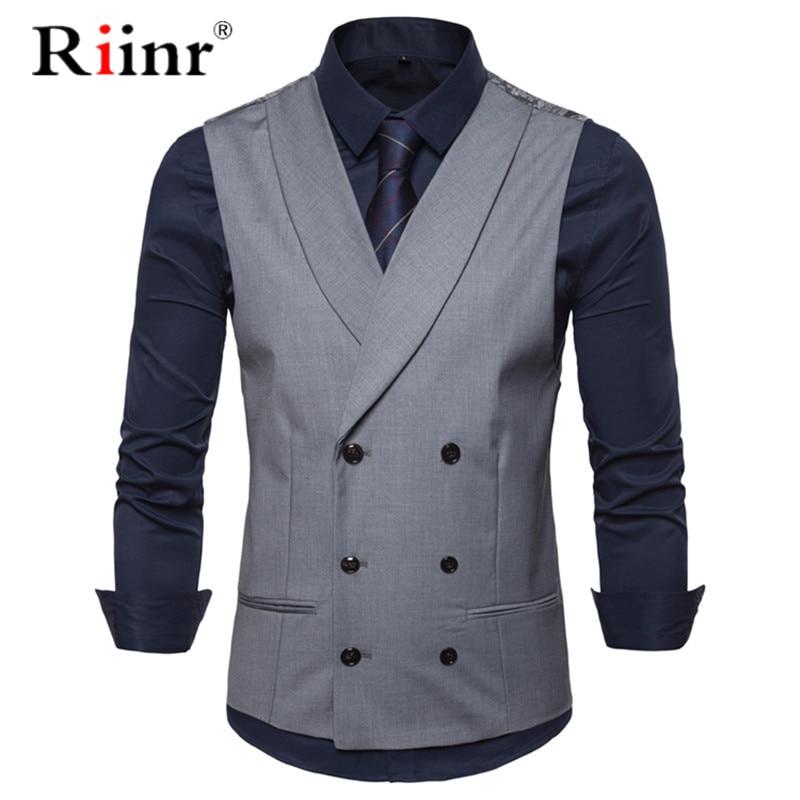 Male British Style Casual Suit Vest Men 2019 Spring Autumn Sleeveless Vest Waistcoat Mens Slim Wedding Business Vests 2XL