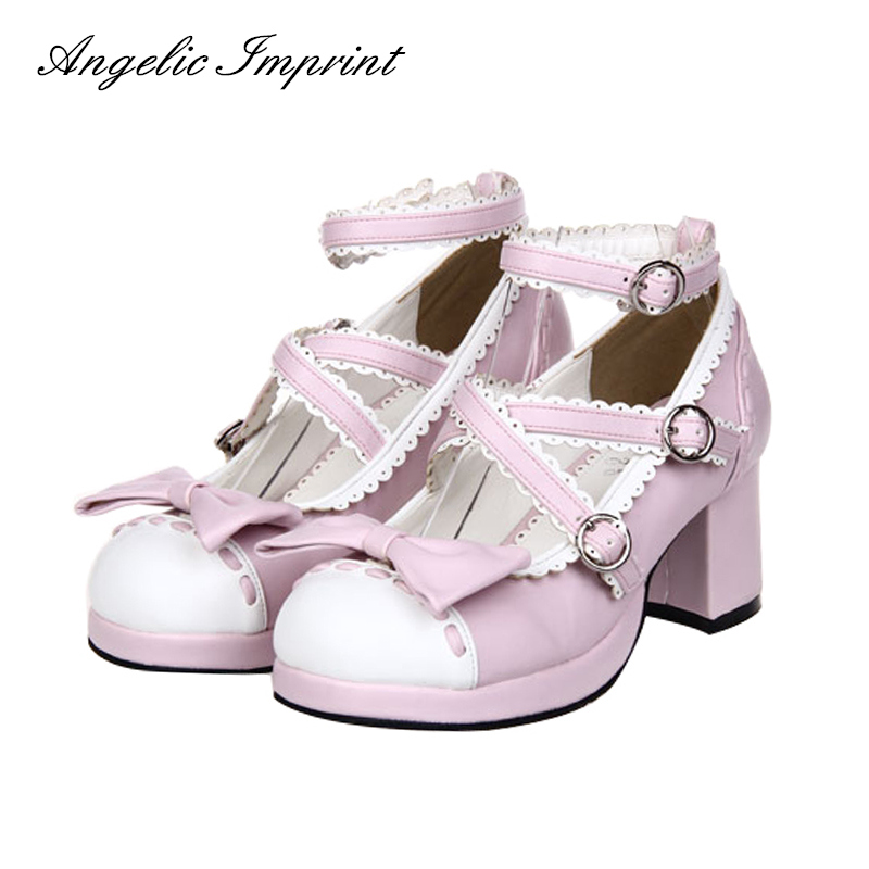 Women's Chunky Heel Criss Cross Strappy Pumps Sweet Lolita Maid Cosplay Spring & Summer Shoes contrast piping criss cross teddy