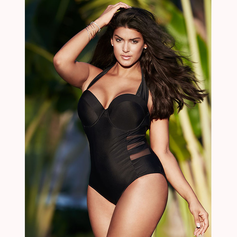 <font><b>2018</b></font> <font><b>Sexy</b></font> Black Halter Cut Out Bandage <font><b>Women</b></font> One Piece <font><b>Swimsuit</b></font> Large Size Female <font><b>Swimsuit</b></font> Plus Fertilizer <font><b>Women</b></font> Big Breast Bust image
