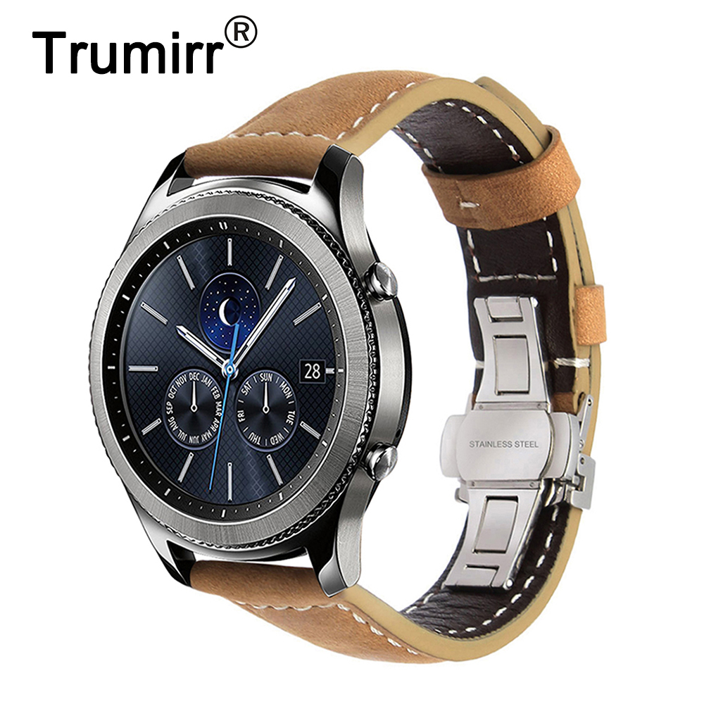 Italian Genuine Leather Watchband 22mm Quick Release for Samsung Gear S3 Classic Frontier Gear 2 Neo Live Watch Band Wrist Strap купить в Москве 2019