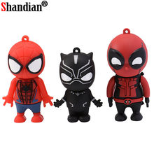 SHANDIAN 64GB Pendrive USB 2.0 Flash Drive Dos Desenhos Animados Deadpool Superhero Hulk 4GB GB GB 32 16 8GB superman Brinquedo de Presente Disco Memory Stick(China)