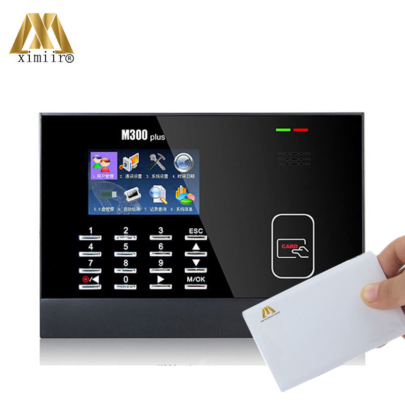 Hot Sale Free Software Proximity Smart Card Reader Time Clock M300plus With 13.56MHz MF Card Time Attendance System