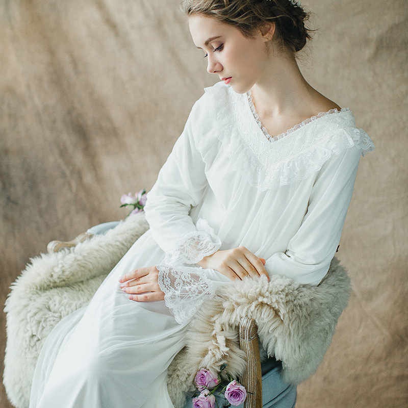 RenYvtil 2018 Female Lingerie Long Sleeve Elegant Classical Princess Long  Night Women Spring Summer Sleepdress Household Nightgowns & Sleepshirts    - title=