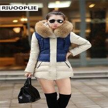 RIUOOPLIE Женщины Зимнее Пальто Верхняя Одежда Утолщение Средней Длины Вниз Хлопка Ватник
