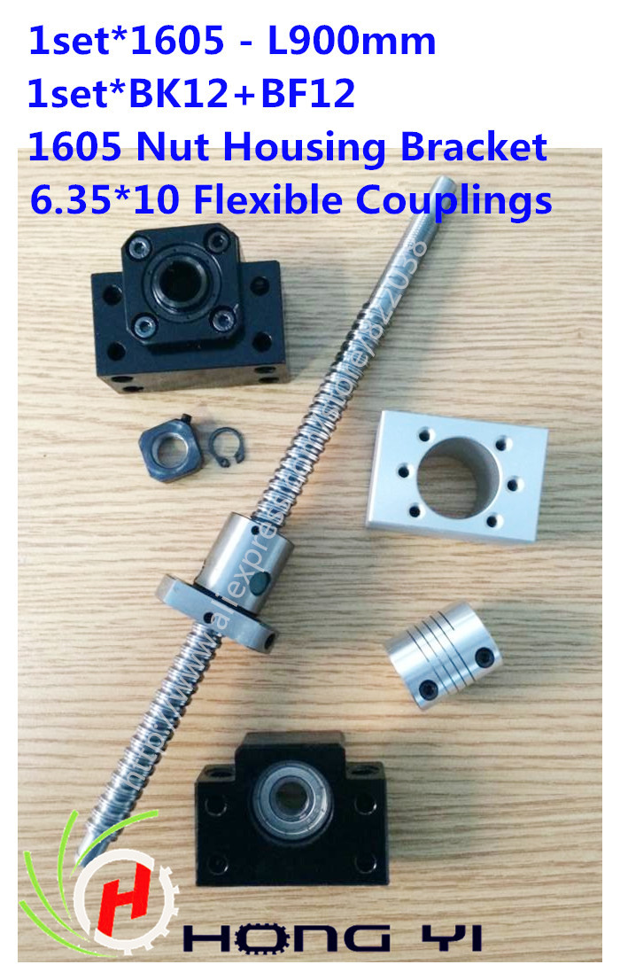 Rolled Ballscrew assembles1 set SFU1605 -L900mm +BK12 / BF12 Ballnut end Support +1605 Nut Housing Bracket+ 6.35*10mm couplers