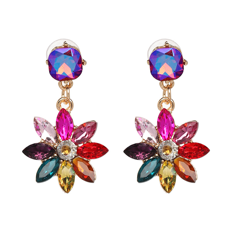 bling colorful rhinestone flower drop earring for women boucle d 39 oreille fantaisie brincos 2018