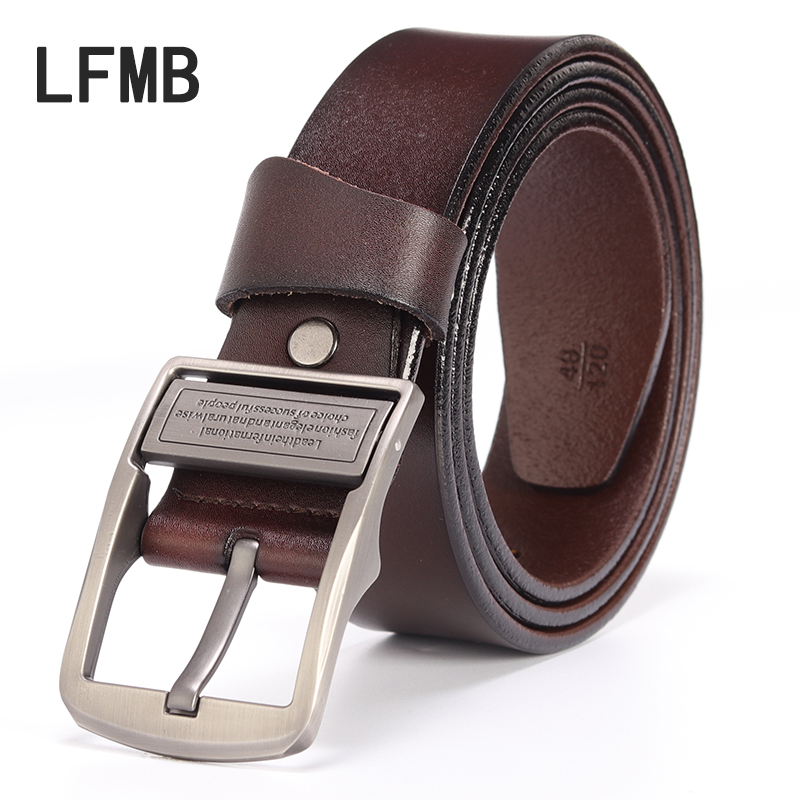 LFMB 2019 Top Quality New Design Cowskin Leather Men Belt Solid Metal Buckle Gentleman Waist Belt Casual Noble Belts