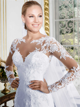 Sheer O-neck Long Sleeve Mermaid Wedding Dress 2019 See Through Illusion Back White Bridal Gowns with Lace Appliques 4