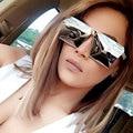 Moda Diseñador de la Marca Square Flat Top Gafas de Sol de Espejo de Las Mujeres gafas de sol de Los Hombres Gafas de Hip Hop Marco de oro rosa Señora Masculina roca