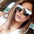 Moda Marca Designer Praça Flat Top Óculos de Sol Espelho Mulheres óculos de sol Dos Homens Óculos de Hip Hop rosa Moldura de ouro Senhora Masculino rocha