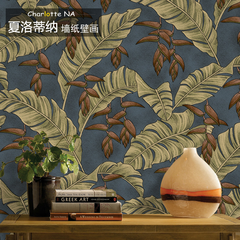 Free Shipping Banana leaf wallpaper mural living room bedroom sofa TV background wall wallpaper Southeast Asian style  free shipping basketball function restaurant background wall waterproof high quality stereo bedroom living room mural wallpaper