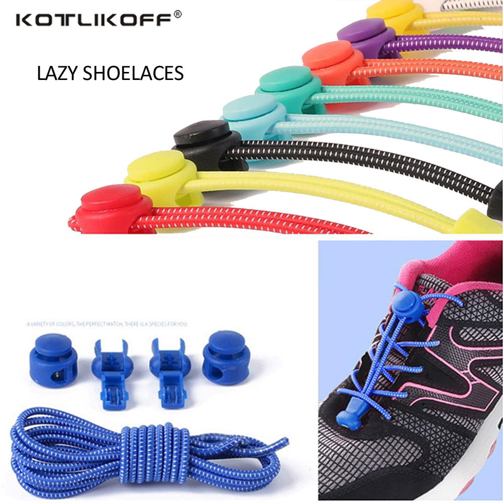 KOTLIKOFF 100CM 1 pair Elastic strecth Locking no tie lazy shoeLaces sneaker elastic Shoelaces children safe elastic shoe lace ...