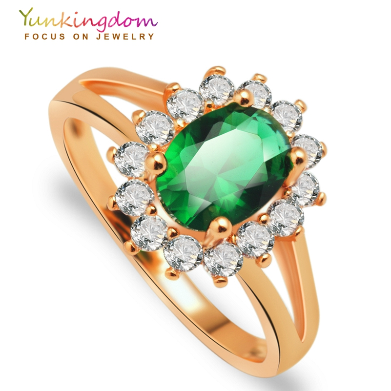 Yunkingdom Bague Femme new rose gold color Jewelry Anel Feminino green zircon crystal classic wedding rings H2503