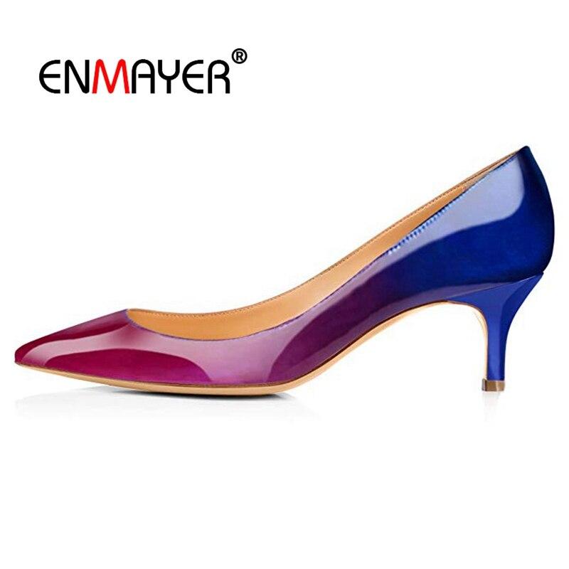 ENMAYER  Basic Zapatos De Mujer Moda 2019 Vestir PU Pointed Toe Casual Women Shoes Slip-On Size35-45 LY1253