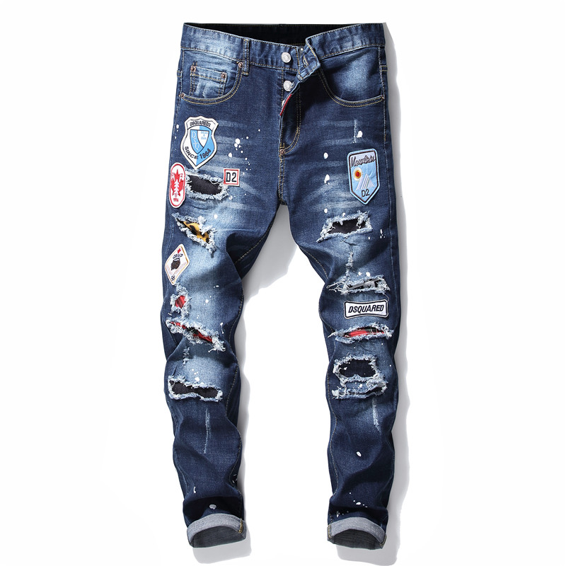 Ripped torn mens jeans blue embroidery slim skinny jeans stretch pants men trousers clothes hip hop streetwear Autumn Winter