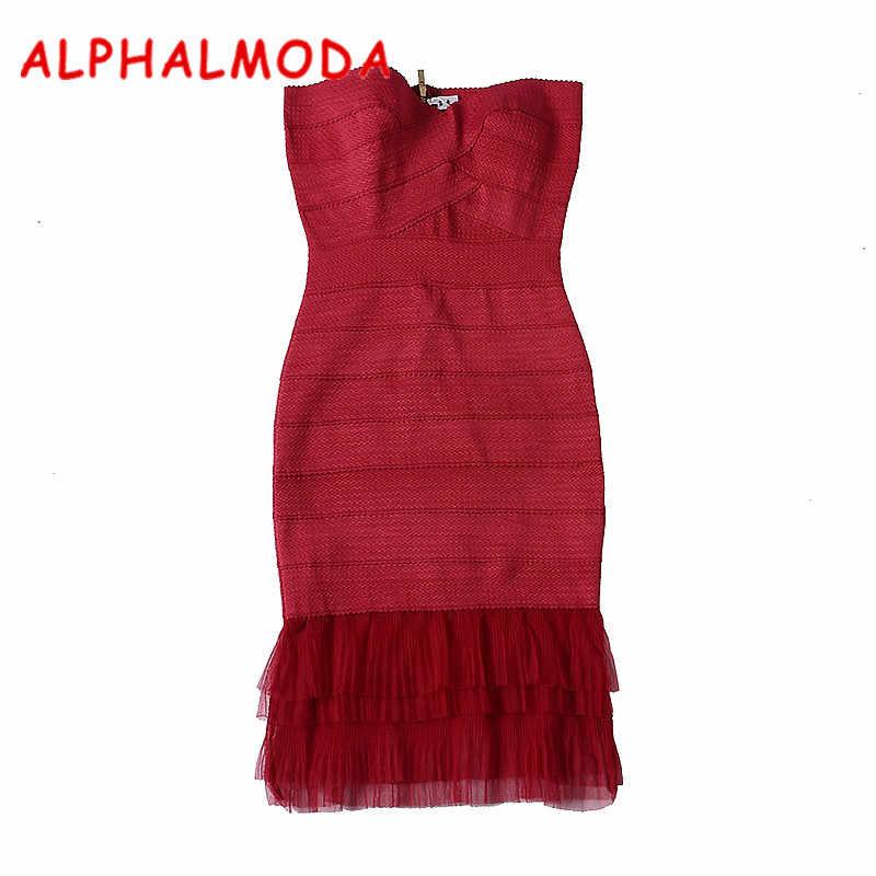 ALPHALMODA 2017 осеннее Новое поступление женское сексуальное облегающее платье кружевное лоскутное подол бандаж Вечерние Платья Туника Платье