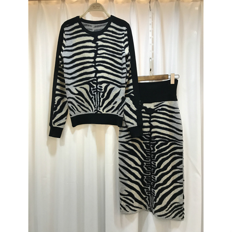 Crop Top And Skirt O neck Set Rushed Full 2017 Winter New Wool Suit Zebra Pattern Fashion Sexy + Sweater Two Sets Of Women