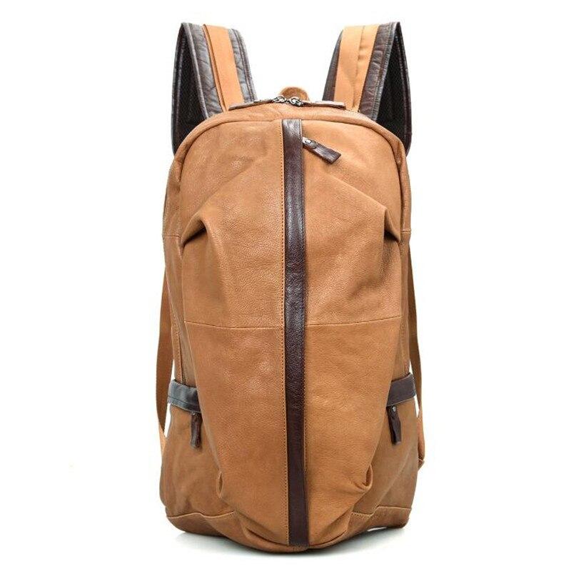 Из натуральной кожи Для мужчин рюкзак для высокое качество мужской овчины рюкзаки Чемодан и Для мужчин; дорожные сумки мужской большой Ёмко
