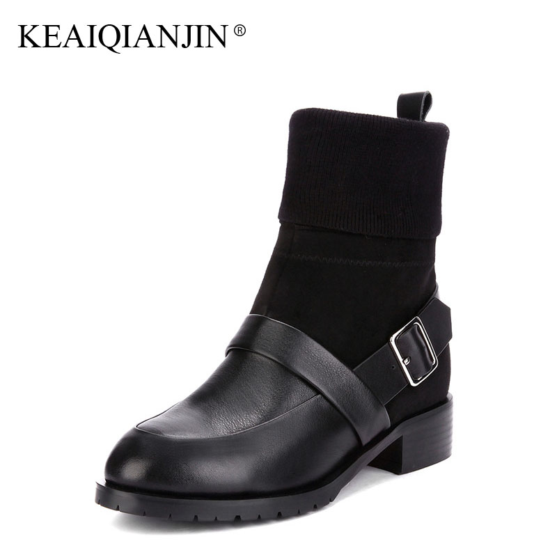 KEAIQIANJIN Woman Sock Boots Autumn Winter Plus Size 33 43 Buckle Gothic Shoes Black Buckle Genuine