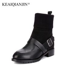 KEAIQIANJIN Woman Sock Boots Autumn Winter Plus Size 33 – 43 Buckle Gothic Shoes Black Buckle Genuine Leather Martins Botas 2017