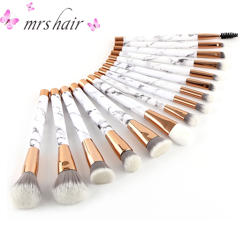 Marbling Makeup Brushes Set Professional 15pcs Kits Powder Foundation brush Concealer Eye shadow Lip Blending Make up Brushes classic plaid pattern shirt collar long sleeves slimming colorful shirt for men
